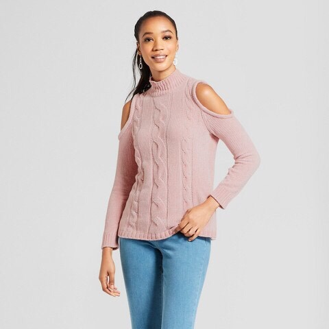 Pink Cold Shoulder Winter Sweater