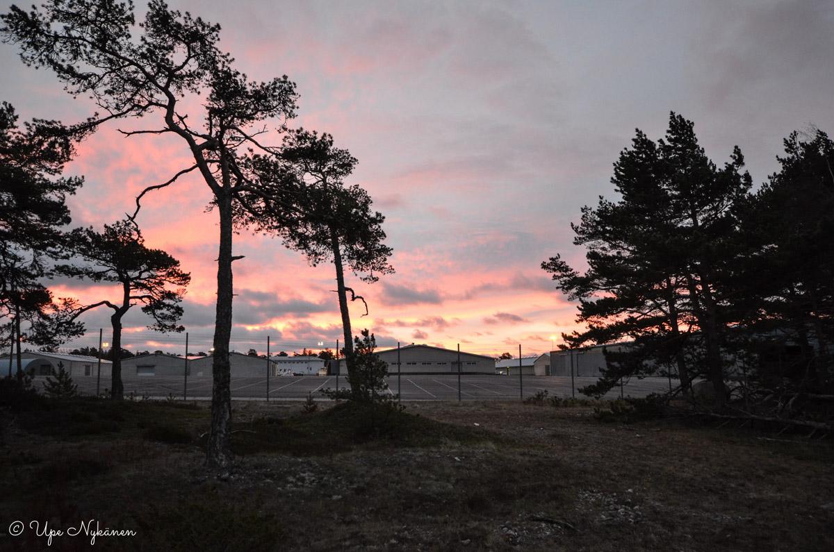 Hanko, auringonnousu Tulliniemen vapaasataman vieressä