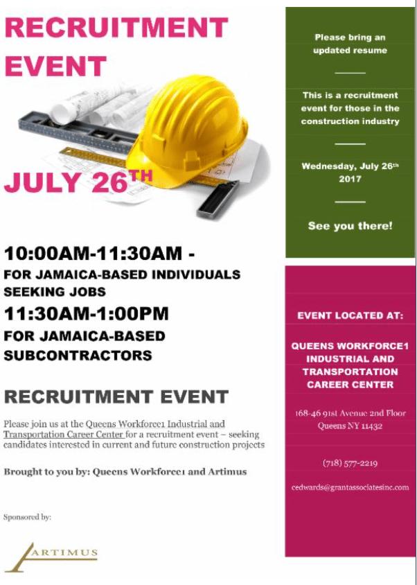 Construction Contractor Recruitment Event Jamaica 311