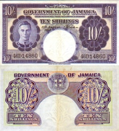 Jamaican 10 Shillings Bank Note
