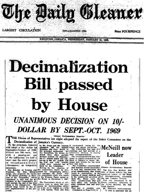 Clipping from the front page of the The Daily Gleaner, Wednesday, January 31, 1968 reporting on the decision of the House of Representatives concerning the decimalisation of Jamaica's currency.