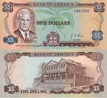 Jamaican $5 bank note