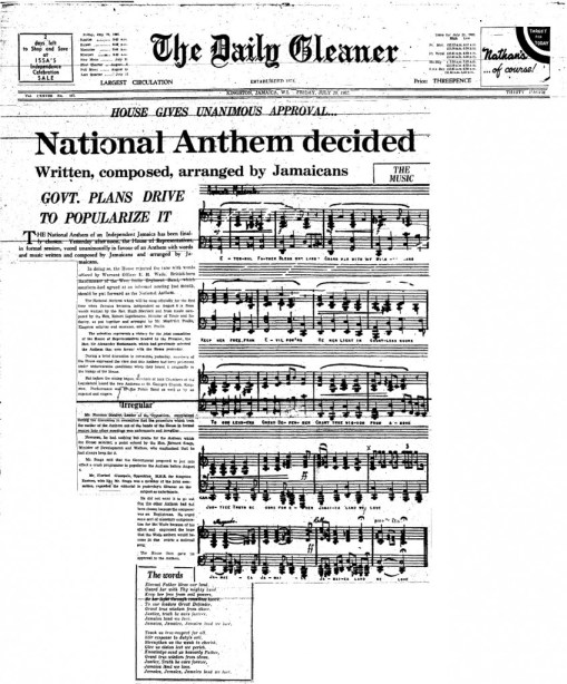 Announcement of the National Anthem, as appeared in the Daily Gleaner of