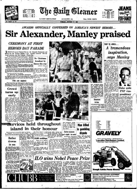 Front page of the Daily Gleaner, Tuesday, October 21, 1969
