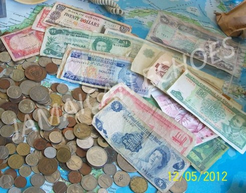 Some of the international currency in Flo's collection.