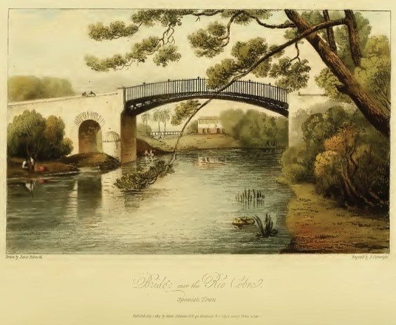 A view of the Iron Bridge over the Rio Cobre in Spanish Town St. Catherine, as drawn by James Hakewill (1825)