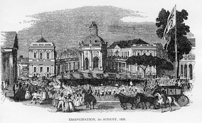Celebrating the dawn of Emancipation at the Spanish Town Square, the then capital of Jamaica.