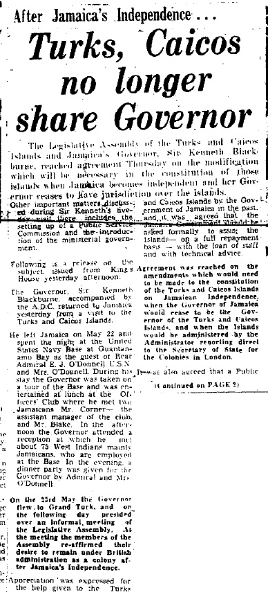 Sunday Gleaner article about the Turks an Caicos Islands' decision to remain a British colony once Jamaica received its independence on August 6, 1962. (Source: The Sunday Gleaner, May