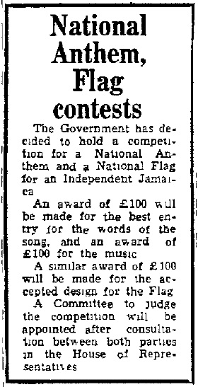 Announcing the National Anthem and National Flag competitions (Source: The Daily Gleaner, Tuesday, October 3, 1961, p. 1)