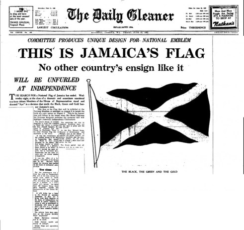 The front page of the Daily Gleaner of Friday, June 22, 1962, announcing Jamaica's new National Flag (Source: The Daily Gleaner, Friday, June 22, 1962, pg. 1)