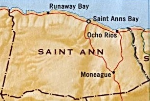 Map of St Ann, showing its capital, Ocho Rios.
