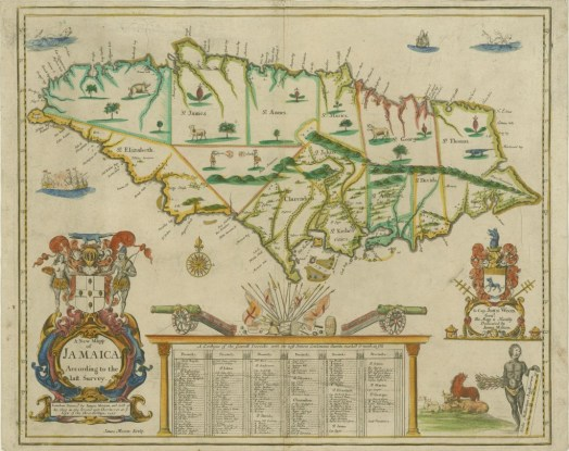 Figure 3: A 1677 map of Jamaica, based on a survey conducted in 1664. Click to enlarge. (Source: James Moxon 1677)