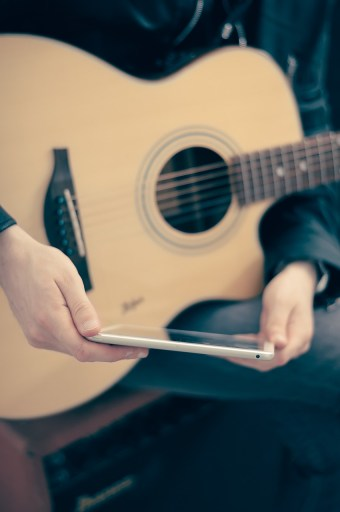 guitar and tablet