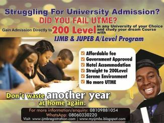 Gain Admission Directly To 200 Level Via IJMB Into Any University WITHOUT jamb