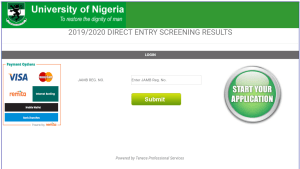UNN Direct Entry Screening Result for 2019/2020 Session