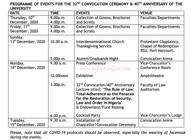 RSU Convocation and Anniversary Schedule