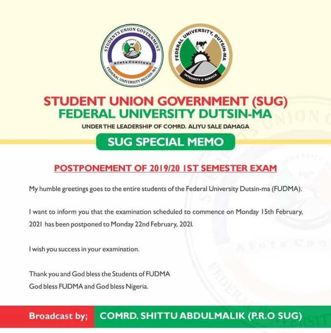 FUDMA Postponed Exam