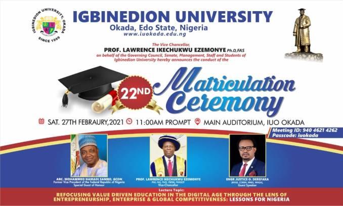 Igbinedion University Okada (IUO) 22nd Matriculation Ceremony Schedule