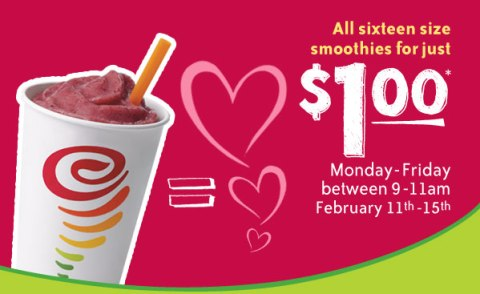 $1 Smoothies, Monday - Friday from 9-11AM, February 11 - 15
