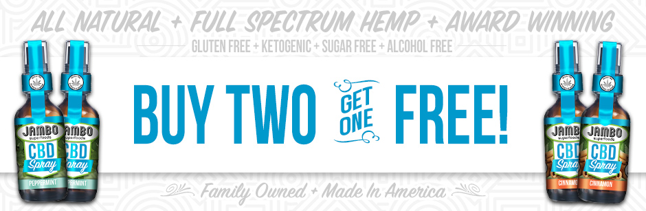 Jambo superfoods buy teo CBD sprays of the same type and get one free