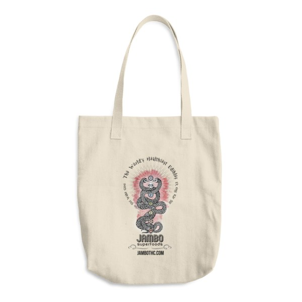 Jambo Superfoods american made cotton tote with kundalini snakes logo
