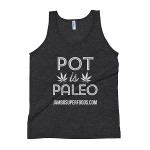 Jamb superfoods mans tank top with pot is paleo logo in black