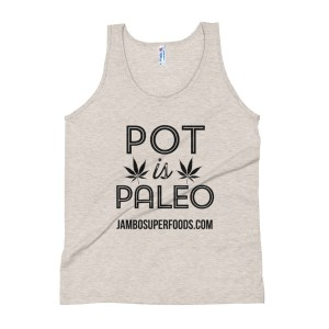Jambo superfoods mans tank top with pot is paleo logo in white