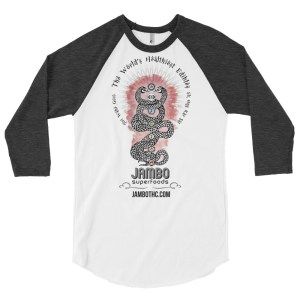 jambo superfoods baseball tee with kundalini serpent print