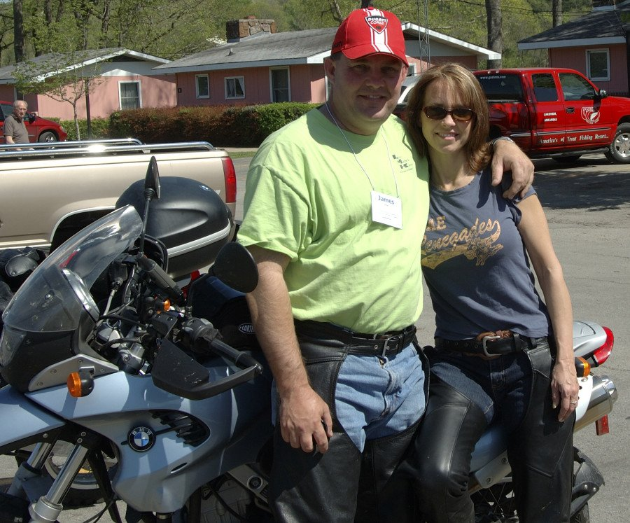 Kay and I love to ride motorcycles together. This photo is from 2007 when we took a trip to Eureka Springs AR with friends and happened to stop at Gaston's White River Resort for lunch.