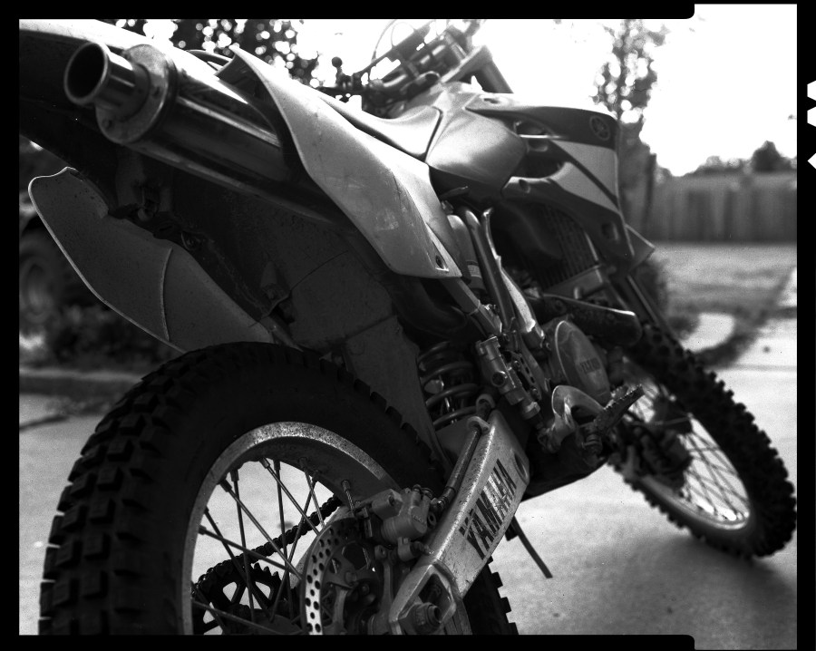 Again more of a test of my film handling and processing procedures. My son's Yamaha WR-450 on our back porch.