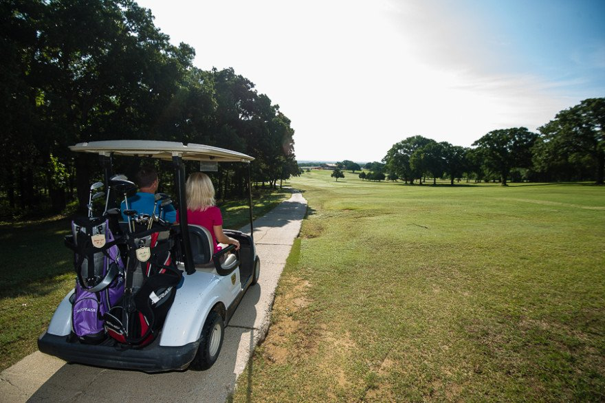 Golfer can rent carts at the Lake Murray State Park clubhouse.