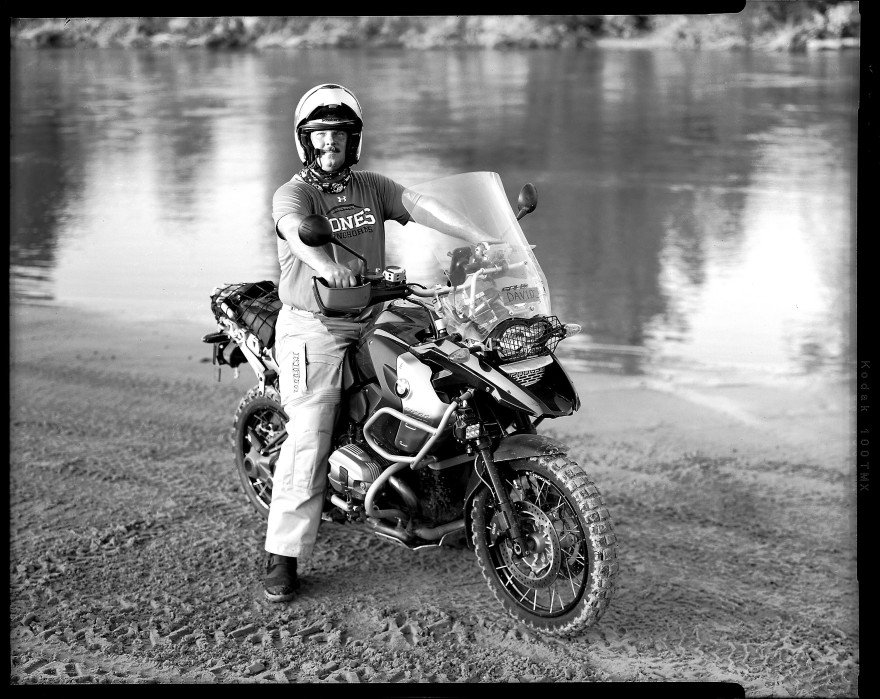Bill Judd on his BMW R1200 GS motorcycle at Bill Dragoo's adventure training course in Lexington, Oklahoma
