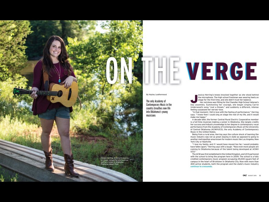 Opening spread of story On the Verge in Oklahoma LIving Magazine August 2015.