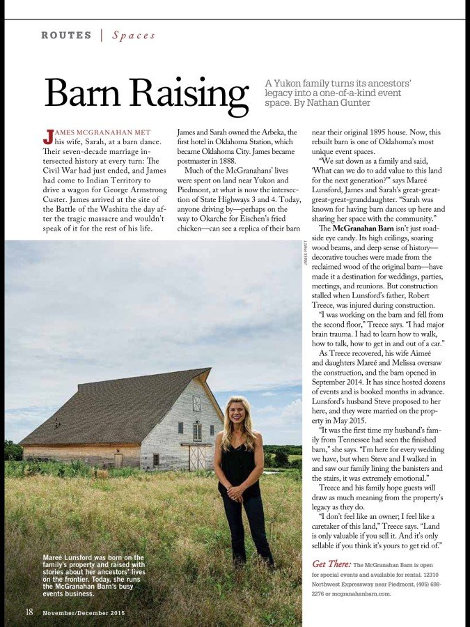 I photographed this story for Oklahoma Today Magazine.