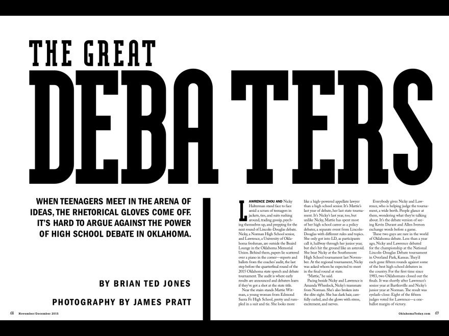 The Great Debaters - Oklahoma Today November/December 2015 opening spread