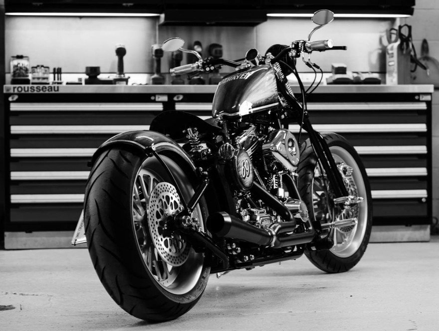 '69 chopper motorcycle for Brass Ball Bobbers Darwin Motorcycle at their shop in Oklahoma City.