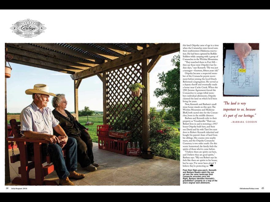 Kenneth and Barbara Goodin look towards the Comanche sacred grounds of the Wichita Mountains and Medicine Park from their ancestral home near Cache, Oklahoma. Pages from Oklahoma Today.