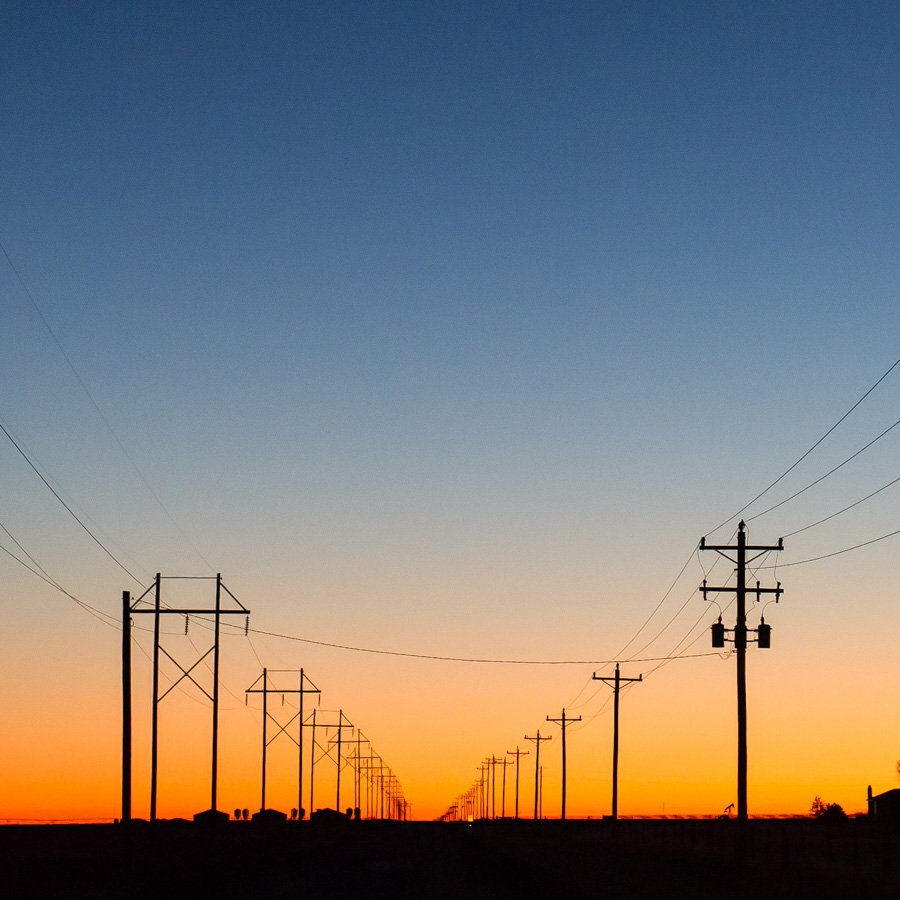 Electrical utility lines for Tri-County Electric Coop TCEC