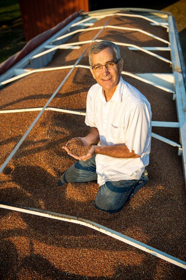 Oklahoma Secretary of Agriculture Jim Reese on his farm north of Nardin, OK during sorghum harvest for Oklahoma Living Magazine