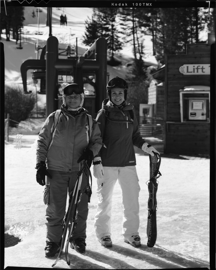 My wife Kay (right) and her friend Connie Hamilton right before they headed out for a day of skiing at Red River NM. I took this shot with my Toyo VX-125 film camera using a Rodenstock 135 mm lens and Kodak TMAX-100 film.