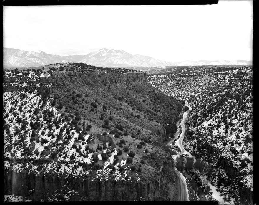 Gulch from Arroyo Hondo to John Dunn Bridge over the Rio Grande River in New Mexico. Shot on Toyo VX-125 and Ilford HP5 film. The image was inadvertently overexposed.