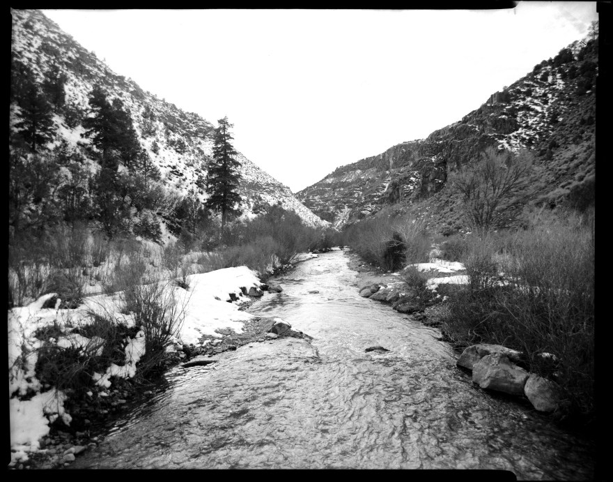 A creek near the trout hatchery just north of Arroyo Hondo along the Rio Grande River in New Mexico. I shot this on my Toyo VX-125 4x5 film camera and a Rodenstock 135 mm lens on Ilford HP5 film.