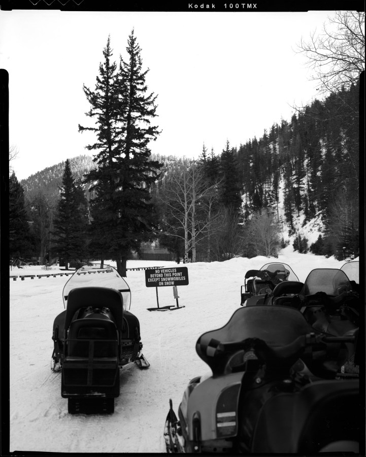 I shot this picture on a trail going out of Red River New Mexico. During the summer I ride dirt bikes on this trail, but during the winter it is open to snowmobiles only. Shot this photo with my Toyo VX-125 4x5 film camera on Kodak TMAX-100 film.