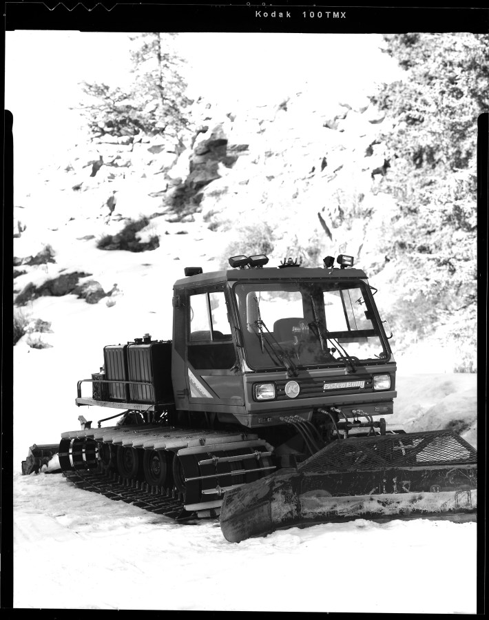 I photographed this snow cat machine on the outskirts of Red River, NM with my Toyo VX-125 4x5 film camera on Kodak TMAX-100 film.