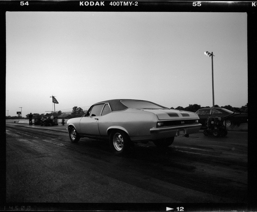 Chevy Nova getting ready to drag race at Thunder Valley Speedway in Noble, Oklahoma. Photographed with Pentax 67 on Kodak TMAX-400 black and white film.