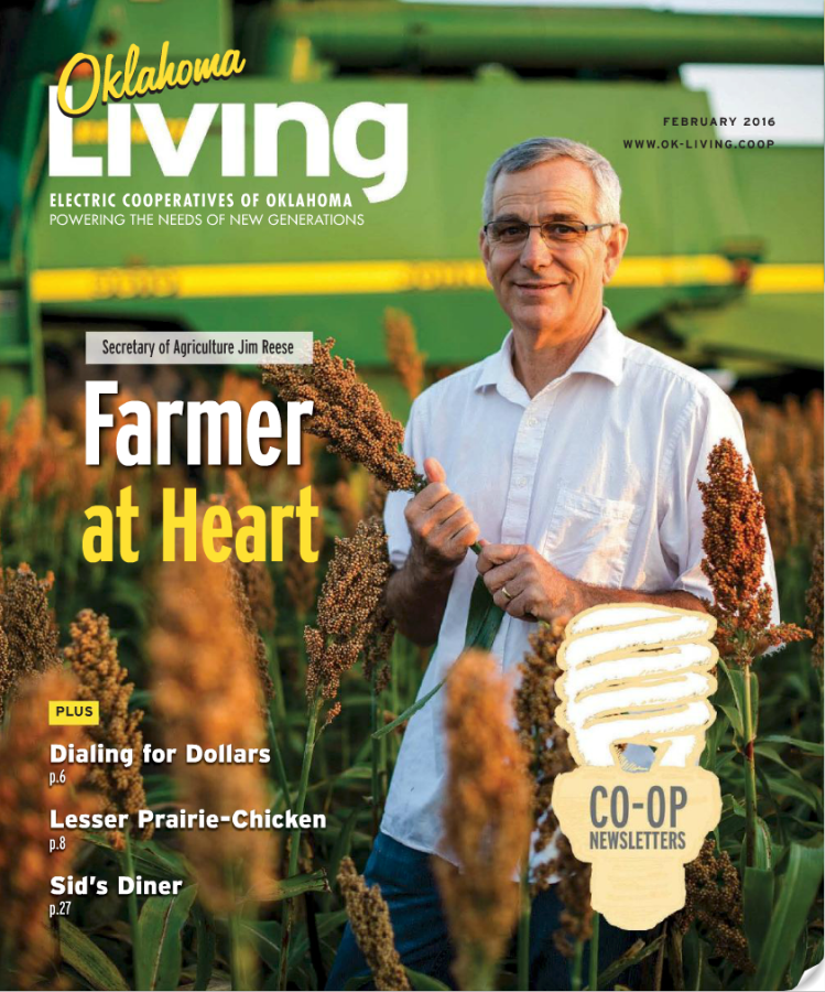 I shot this cover photo of Oklahoma Secretary of Agriculture Jim Reese on his farm near Nardin, Oklahoma while he was in the middle of the milo harvest.