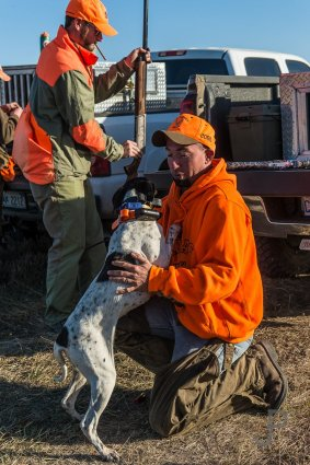 Eric Orsburn checks one of the dogs before loading it in the truck.