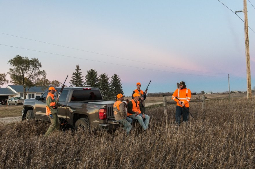 We gather at the tailgate of Vance Felder's Chevy Silverado Z71 at the end of our hunt to talk about the day.