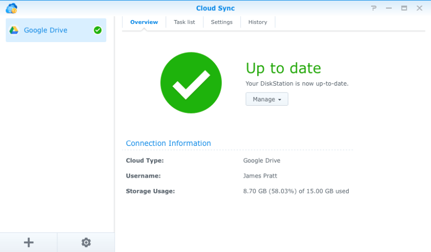 Synology makes it easy to sync DS1515 server with Google Drive, which we use extensively in Kay's real estate business. It can also sync with a variety of other cloud services such as Dropbox and Amazon cloud storage.