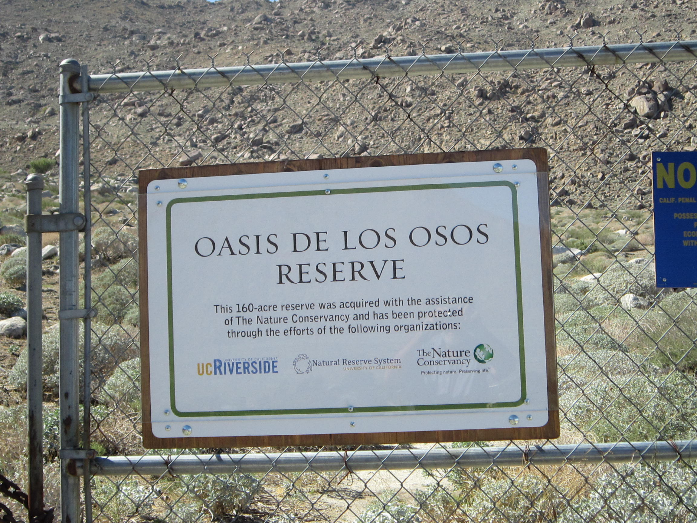 Oasis de los Osos Reserve was leased to the Natural Reserve System from The Nature Conservancy